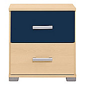 Fresno Bedside Chest, Blue & Maple-Effect