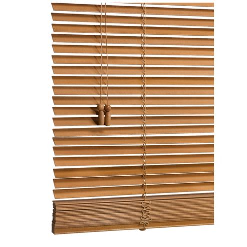 Wood Venetian Blind, 25mm Slats, Oak Effect 105cm
