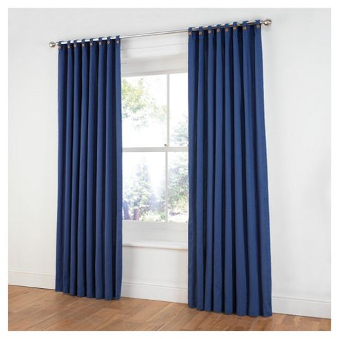 Tesco Plain Canvas Unlined Belt Top Curtains W117Xl137cm (46X54
