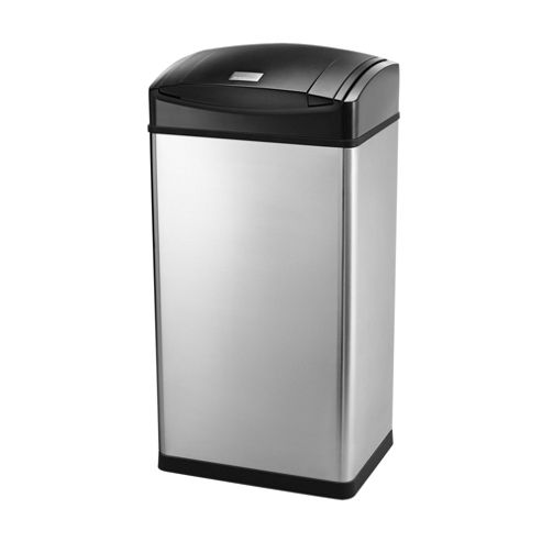 simplehuman 45 Litre Rectangular Soft Touch Bin, Brushed Stainless Steel