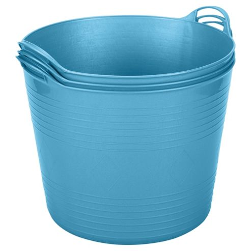 42L Plastic Flexi Tub - Set of 3 - Blue
