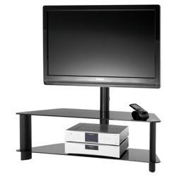 Alphason APB1200/2 Black Glass TV Stand- For up to 42