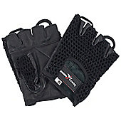 Precision Training Black Leather Palm Mesh Back Weightlifting Gloves - Black