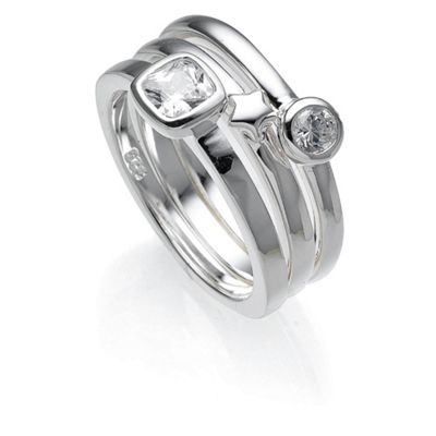 Sterling Silver Cubic Zirconia And Star Stacking Rings, Small