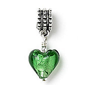 Emerald Green Hanging Heart Slide On Bead