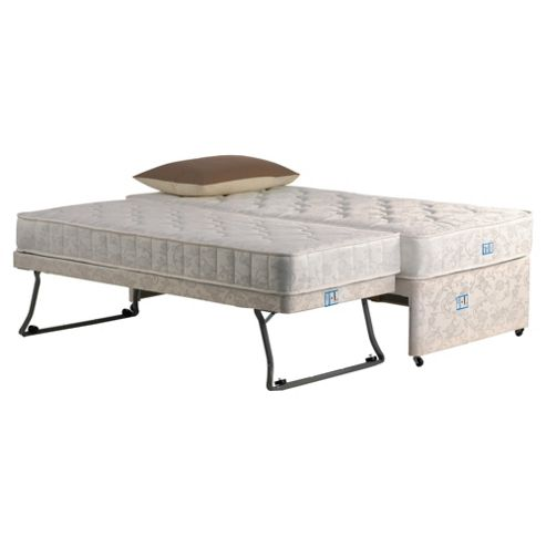 Buy single guest bed divan bed with pop up trundle damask for Low single divan bed