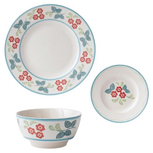Johnson Bros Farmhouse Kitchen 18 Piece, 6 Person Red Daisy Dinner Set