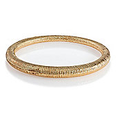 Pave Gold Tone Textured Slave Bangle