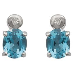 9ct White Gold Diamond And Blue Topaz Earrings