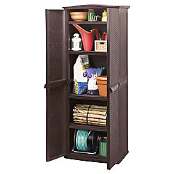 Keter Rattan Effect Plastic Compact Utility Garden Shed