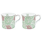 V&A 2 Pack Anemone Green Mugs