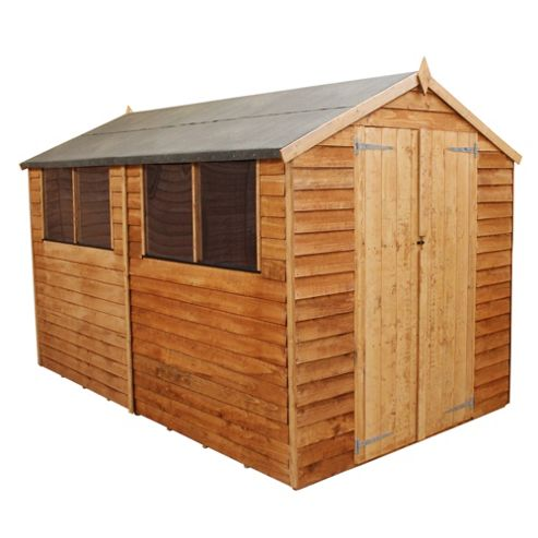 Buy mercia overlap apex wooden shed 10x8ft from our for Garden shed tesco