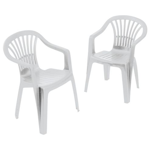 Plastic Low Back Chair, White