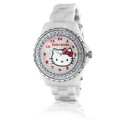 Hello Kitty White Go Faster Diamante Watch