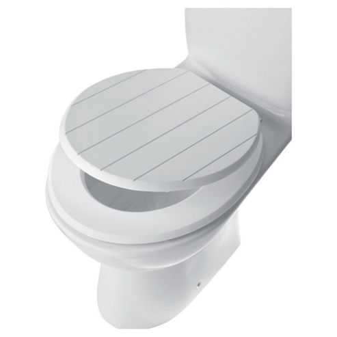 Tongue And Groove Toilet Seat, White