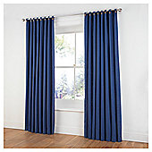 Tesco Plain Canvas Unlined Belt Top Curtains - Petrol blue