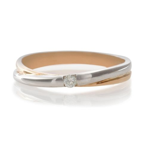 9ct Two Tone Gold Diamond Crossover Ring, K