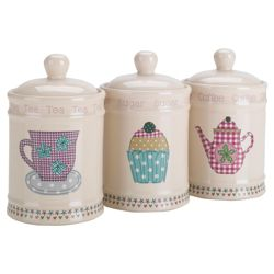 Tesco Time for Tea Tea, Coffee and Sugar Canister Set