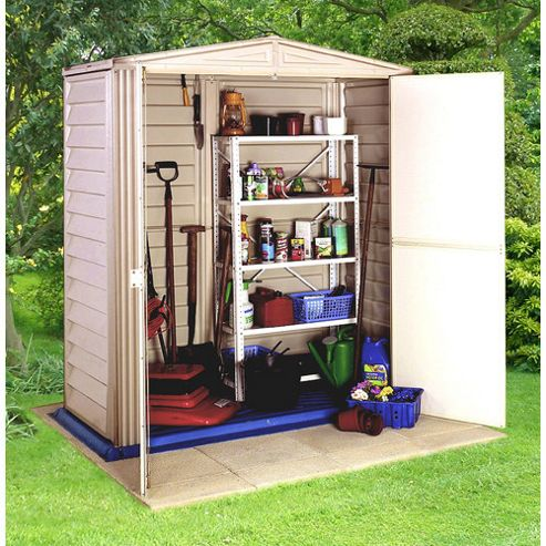 Store More Little Hut Plastic Shed with integral floor, 5x3ft