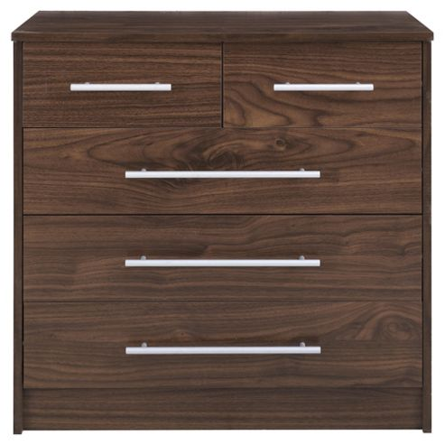 Kendal Walnut Effect Chest of Drawers, 5 Drawer Chest