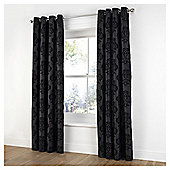 Tesco Flock Damask Lined Eyelet Curtains - Black