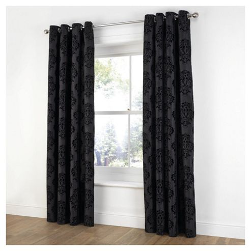 Flock Damask Eyelet Curtains W163xL137cm (64x54