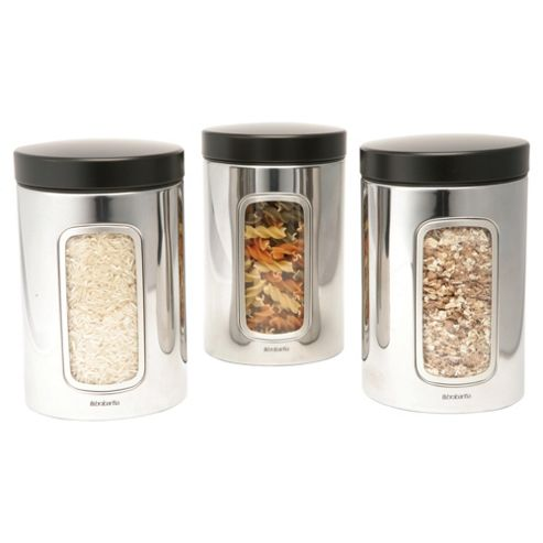 Brabantia 3 piece Window Canister Set, Brilliant Steel