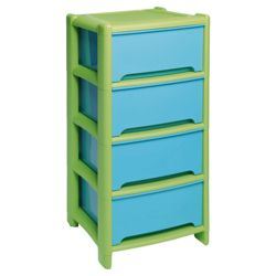 Wham 4 drawer tower, blue & green
