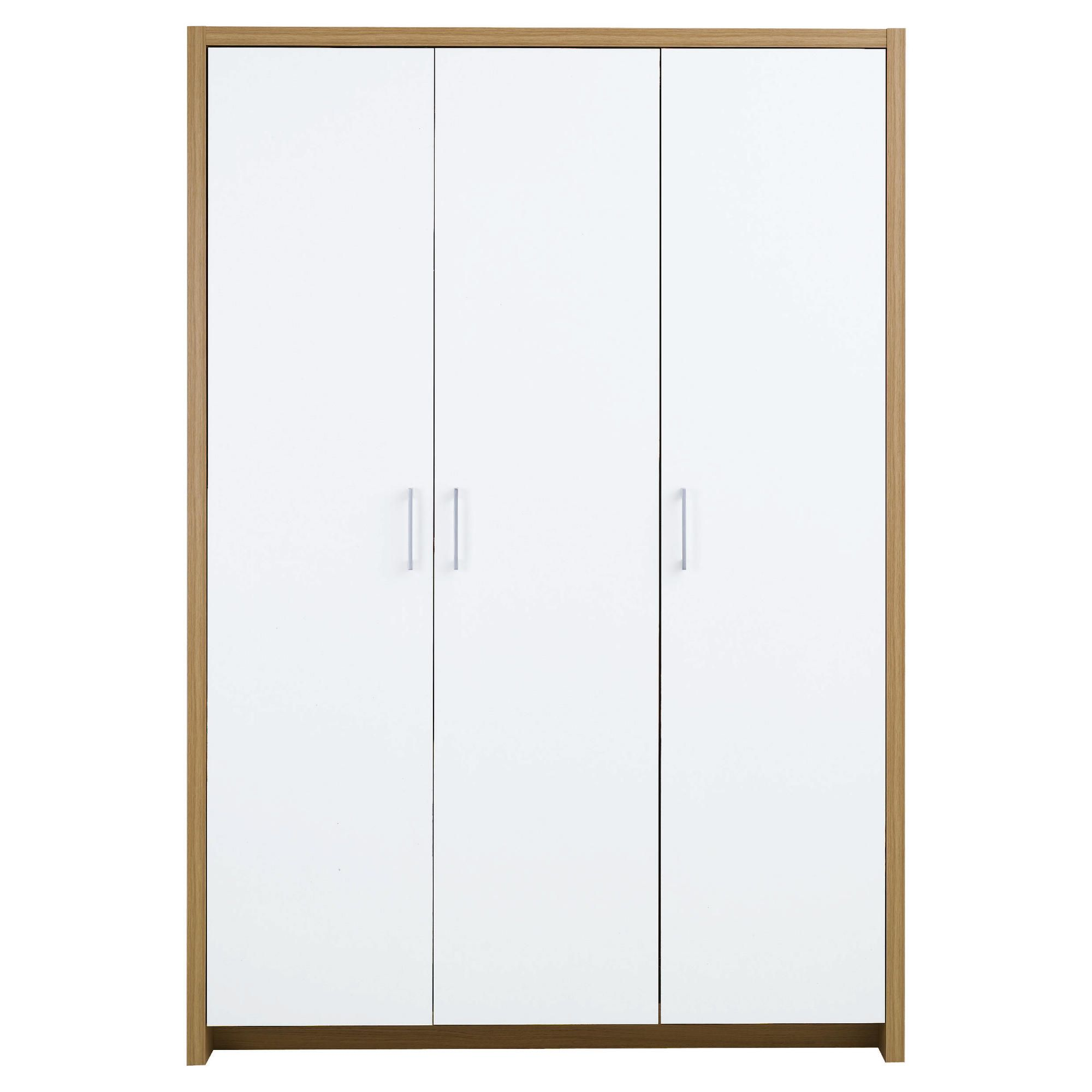 Manhattan Triple Wardrobe, Oak-Effect & White Gloss at Tesco Direct