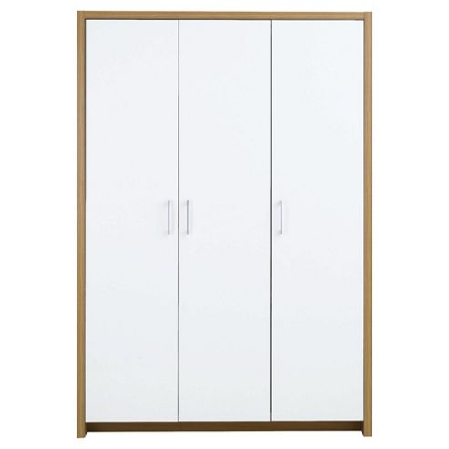 Manhattan 3 Door Wardrobe, Oak Effect/White Gloss