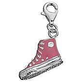 Sterling Silver Pink Baseball Boot Charm