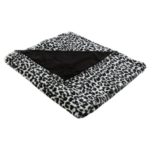 F&F Home Leopard Faux Fur Throw Black