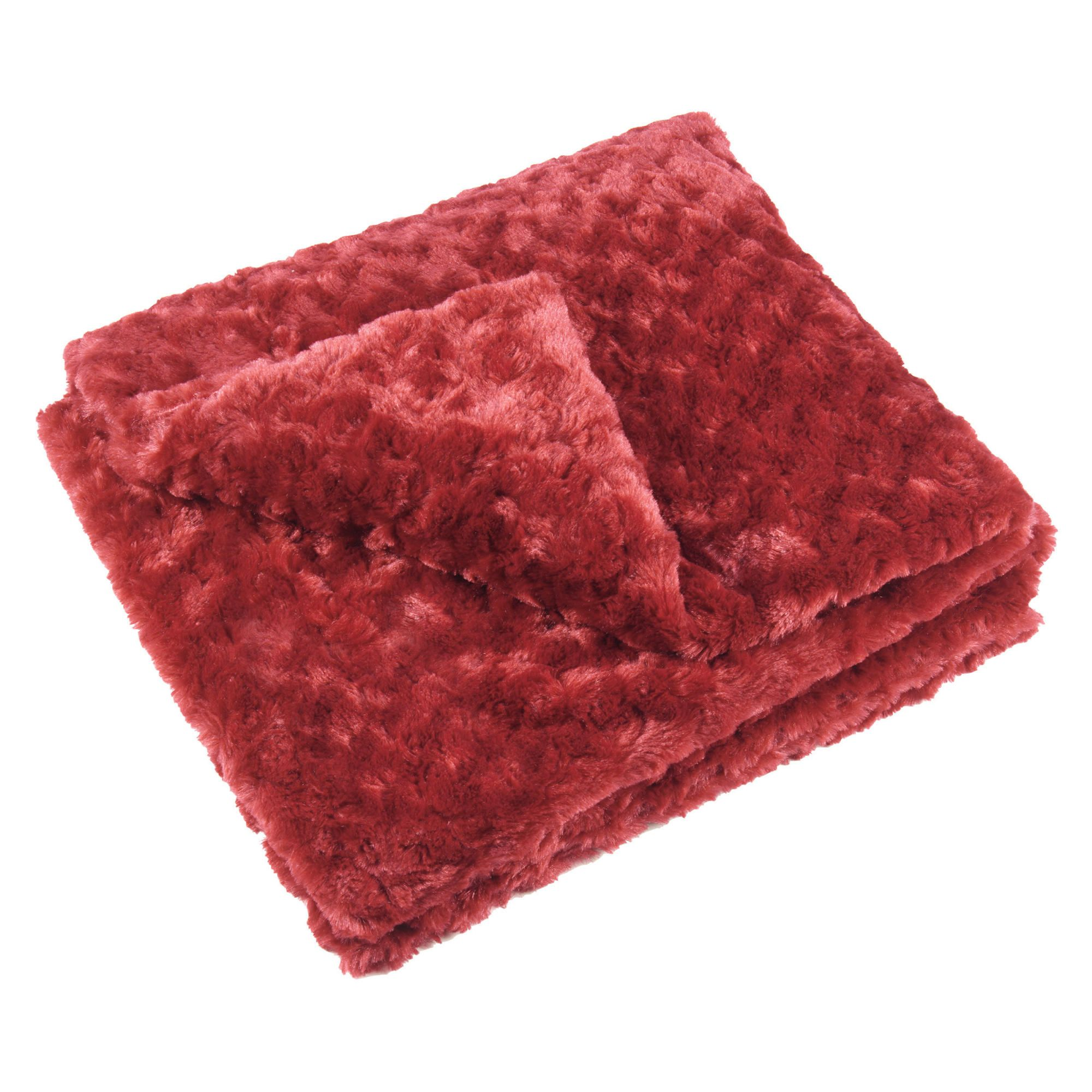 F&F Home Rose Faux Fur Throw 150X170Cm - Berry