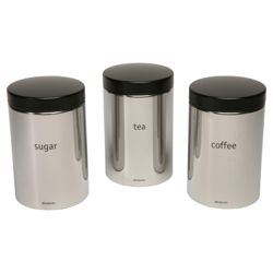 Brabantia Tea, Coffee and Sugar Canister Set, Brilliant Steel