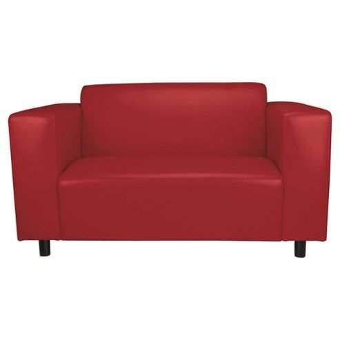 Stanza Leather Effect Small 2 seater  Sofa, Red