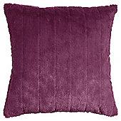 Tesco Ribbed Faux Fur Cushion, Plum