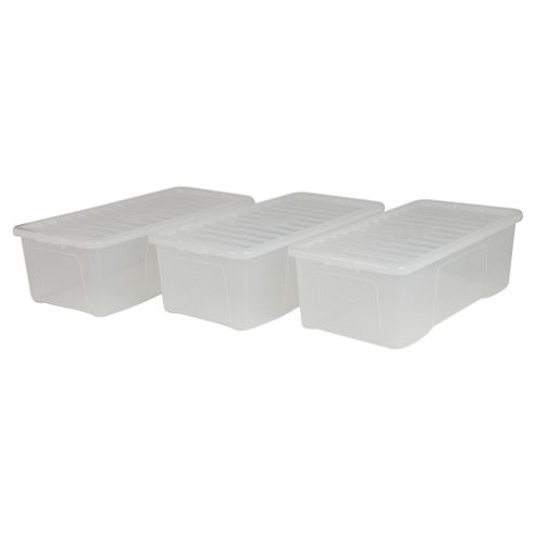 Wham Crystal 62L Underbed Plastic Storage Box With Lid, 3 Pack Clear