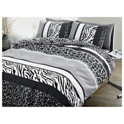 Tesco Animal Print Double Duvet Set, Natural & Black