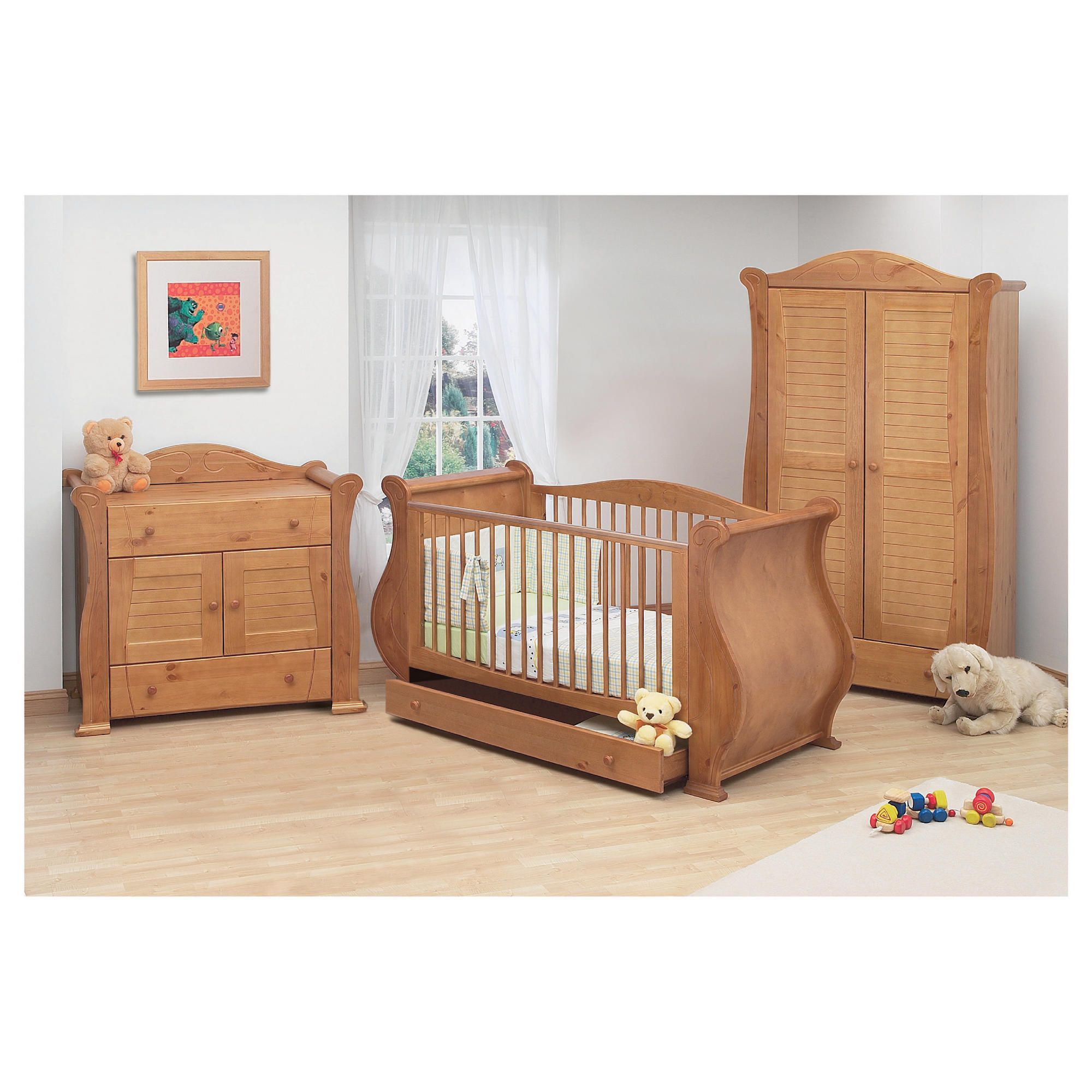Tutti Bambini Marie 3 Piece Sleigh Room Set, Natural. at Tesco Direct
