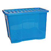 80L Plastic Storage Box with Lid, Blue