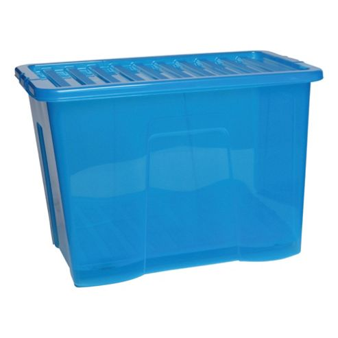 Tesco Crystal 80L Storage Box With Lid, Blue