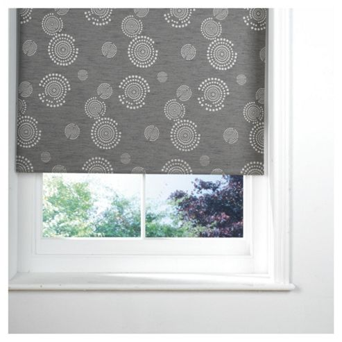 Circle Printed Blackout Roller Blind 90x160cm Silver