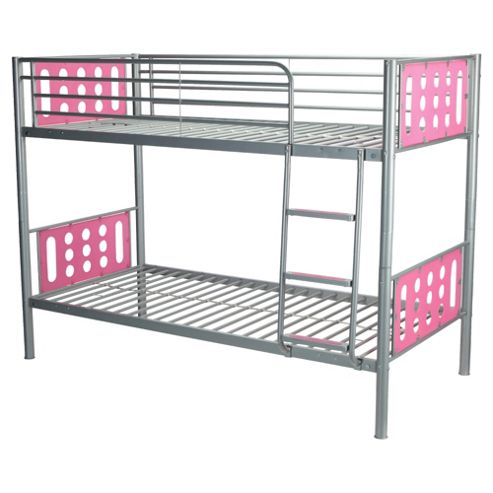 Domino Bunk Bed Frame, Silver & Pink Headboard