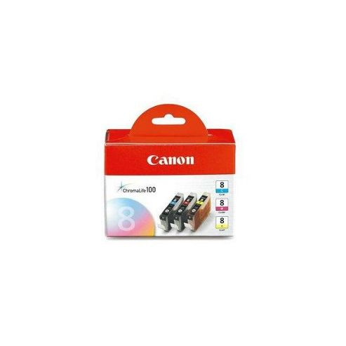 Canon CLI-8 Colour Printer Ink Cartridge - Multipack (Cyan, Magenta, Yellow)
