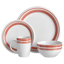 Tesco Hand Painted 16 piece Dinner Set, Red