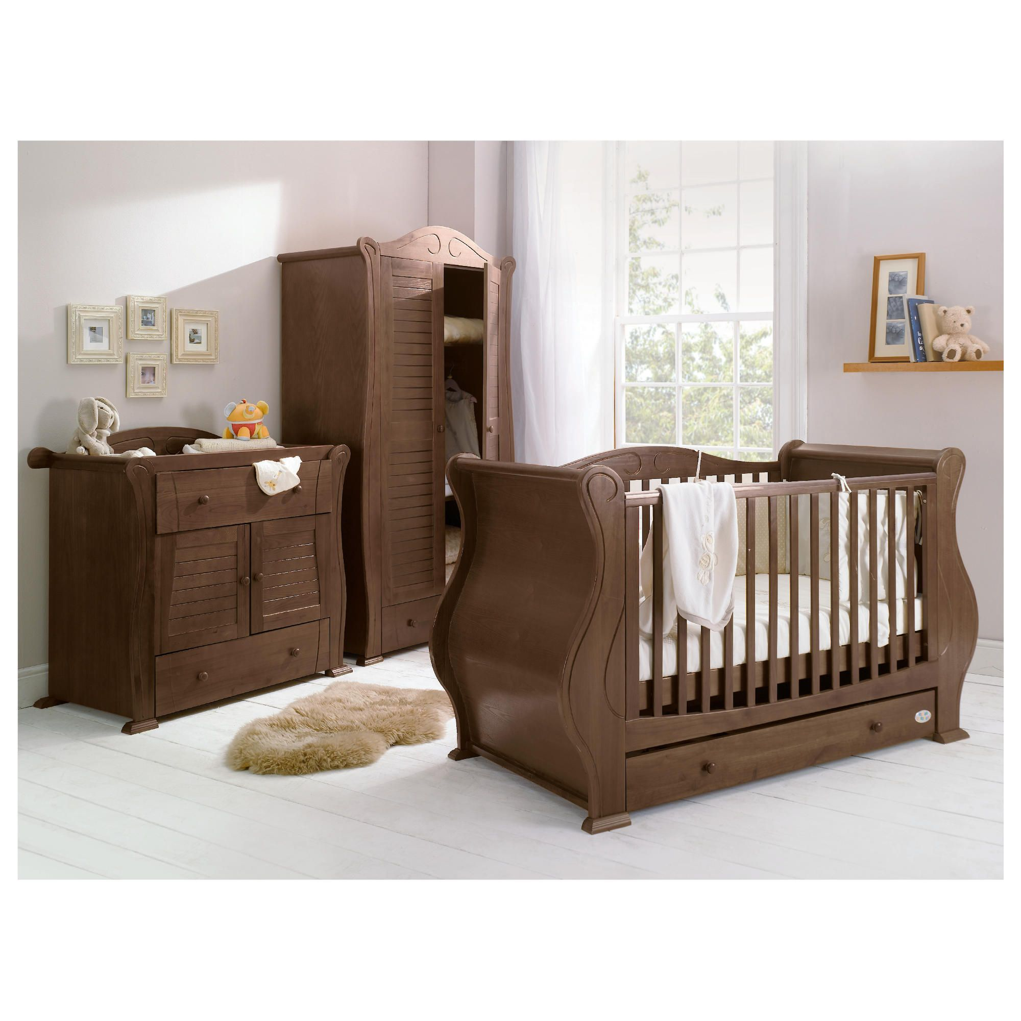 Tutti Bambini Marie 3 Piece Sleigh Room Set, Walnut with Free Sprung Mattress at Tesco Direct