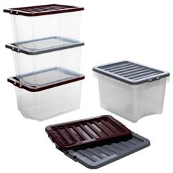 Whatmore 30L Clearview box with lid, 6 pack purple