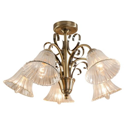 Tesco Lighting Kasaka 5 Light Ceiling Fitting Antique Brass