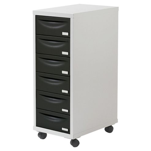 Pierre Henry A4 6 Drawer Filing Cabinet, Silver With Black Drawers