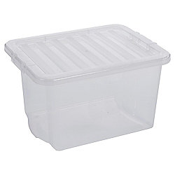 Plastic Storage Box with Lid - 24L - Clear